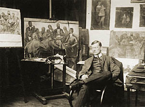 Herbert Fiedler: Fiedler in his Studio,  Berlin c. 1931